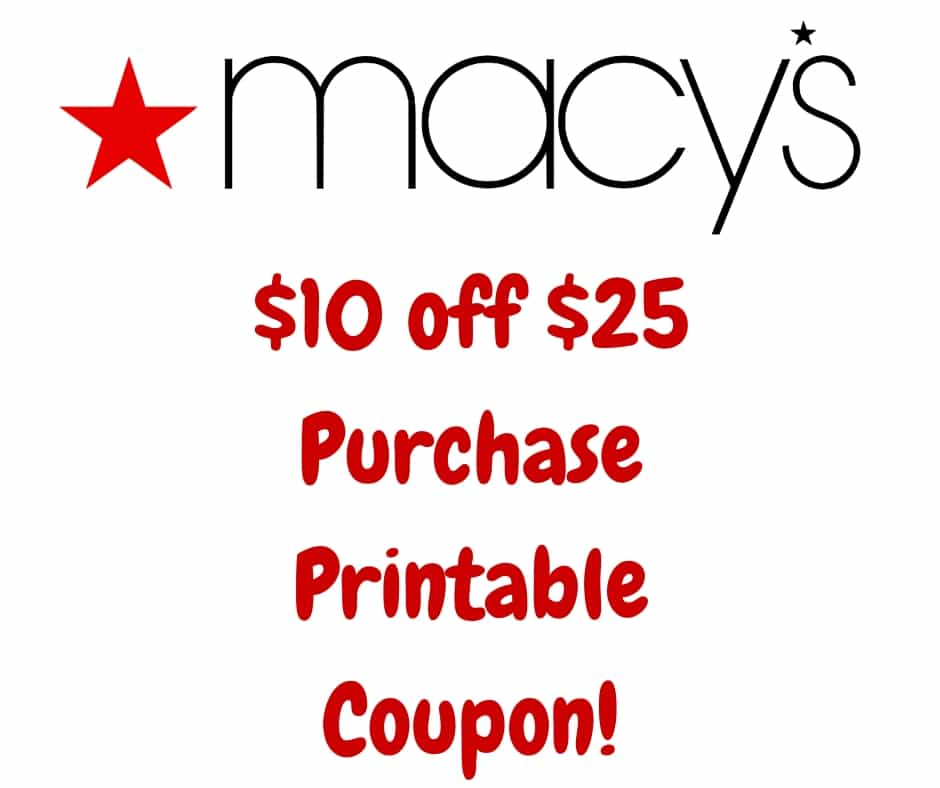 Macy S 10 Off 25 Purchase Printable Coupon Valid 9 11 9