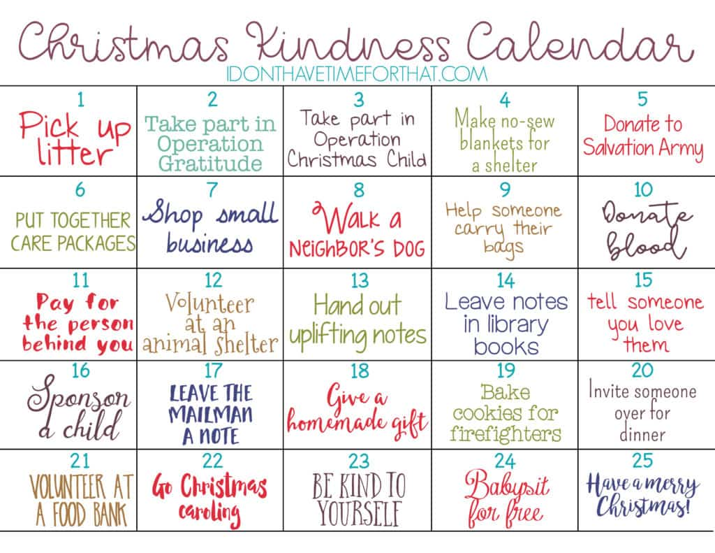 Find out more about the Kindness acts mentioned in this calendar
