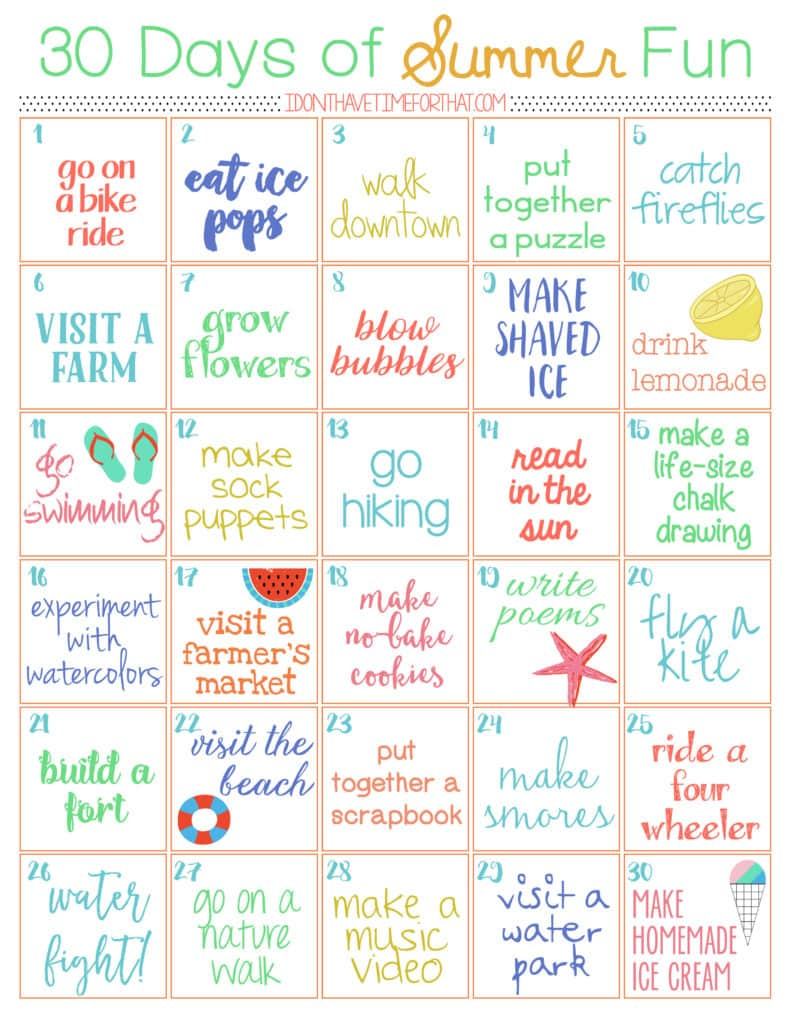 30 Day of Summer Fun Challenge